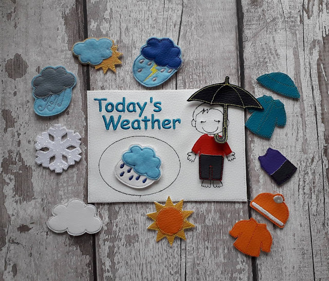 "Copyright JennyBsMakes on Etsy. A small leatherette rectangle with ""Today's Weather"" and a stitched outline of a boy. There are several clothing items and weather bits to attach"