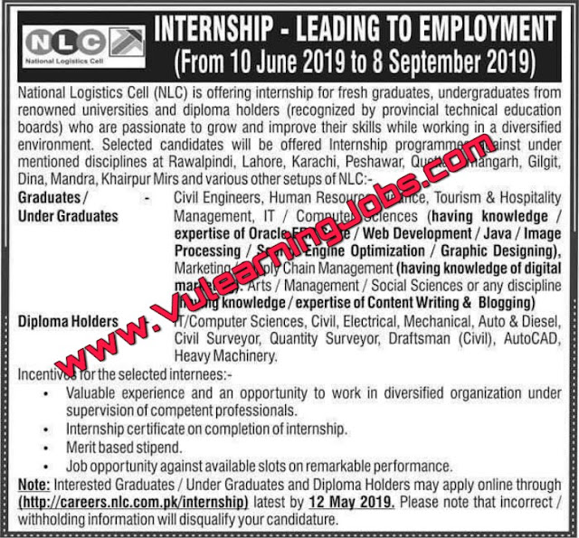 National Logistics Cell NLC Internship May 2019 | Jobs In Pakistan