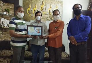 श्रीमती सरोज सोशल एंड वेलफेयर सोसायटी द्वारा अभय सुराणा का सम्मान
