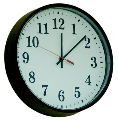 A traditional round wall clock used in thousands of schools.