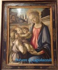 Dipinto olio su tela con la Vergine, il Bambino e gli angeli.