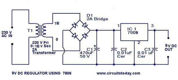 Power Supply 9v By Circuitstoday Com Skema Elektronika