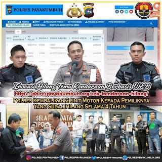 Inovasi Berbasis Website di Polres Payakumbuh, 2 Unit Motor yang Hilang 4 Tahun Akhirnya Kembali