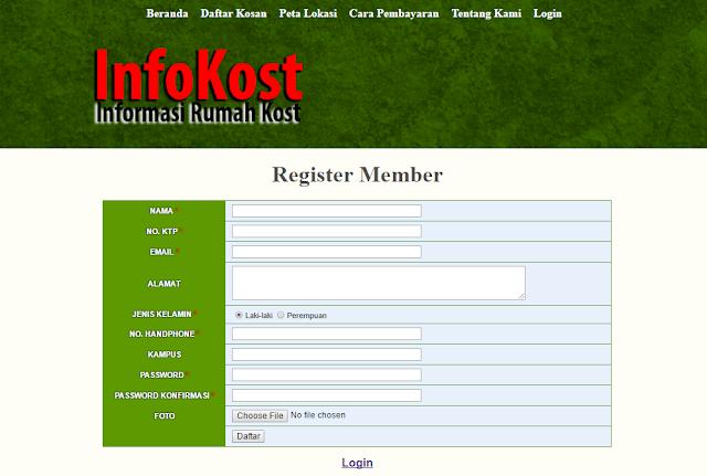 registrasi%2Bmember%2Bkost - Source Code Aplikasi Sistem Informasi Kost Berbasis Web