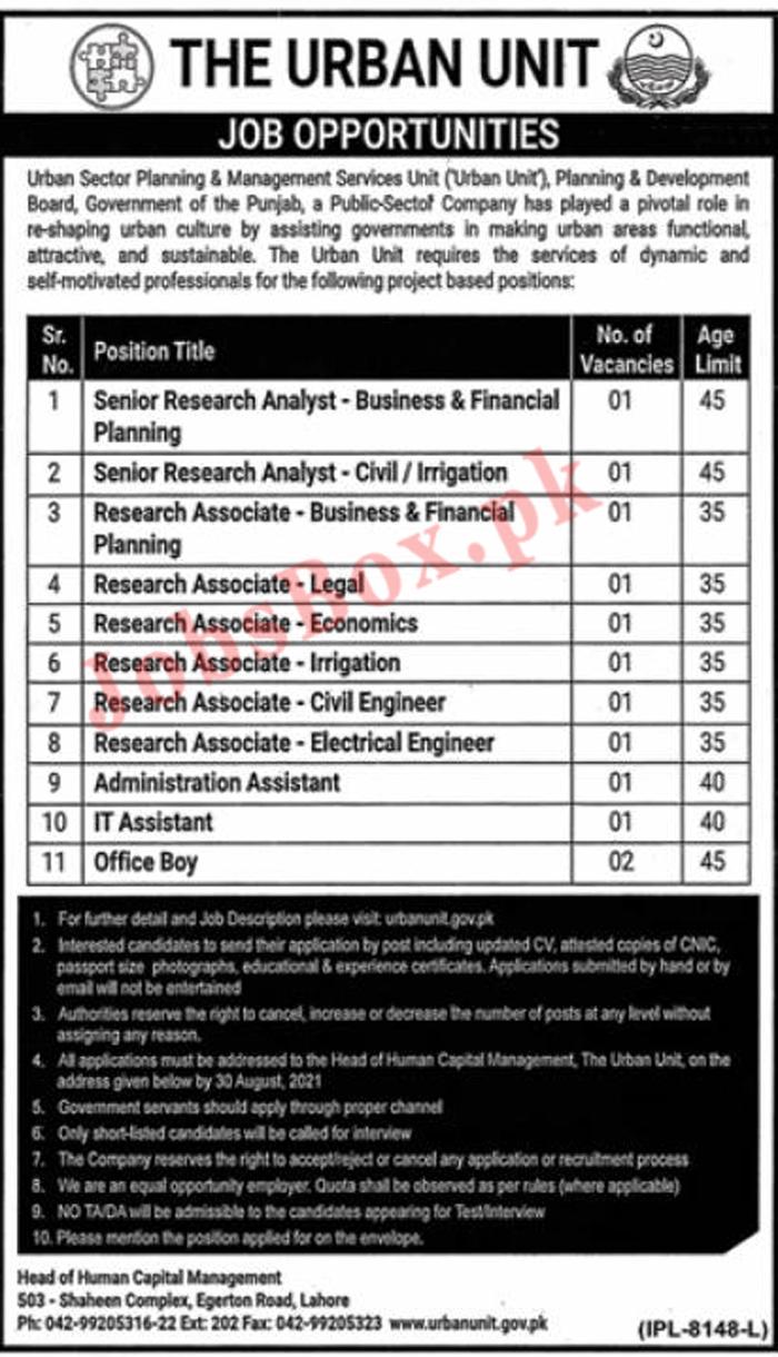 The Urban Unit Jobs 2021 Latest – Application Form www.urbanunit.gov.pk