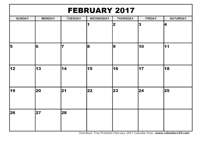 February 2017 Calendar Printable | Monthly Templates - Blank ...