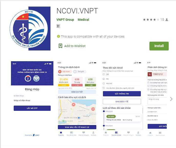 Khai báo y tế toàn dân thông qua ứng dụng NCOVI và Vietnam Health Declaration