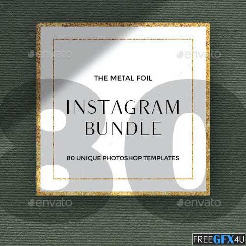 80 Instagram Posts Bundle Metal Foil