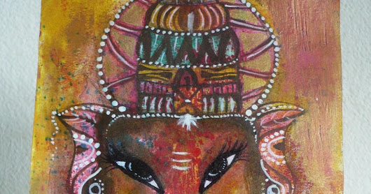 Original Ganesha Painting on Paper - Mixed Media on paper
