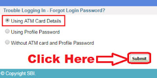 how to reset sbi internet banking password using atm