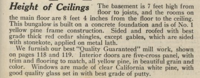 written description of Sears Argyle in 1921 Sears Modern Homes catalogue