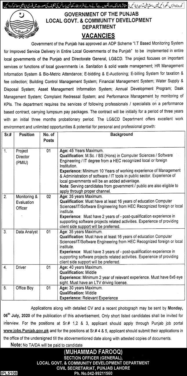 Local Govt & Community Development Department Lahore Jobs