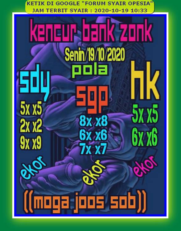 Kode syair Hongkong senin 19 oktober 2020 130