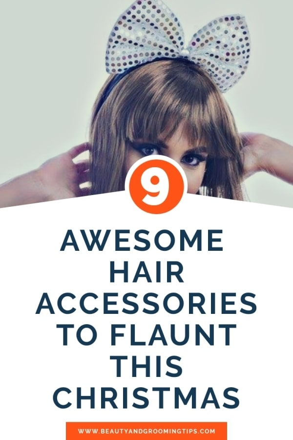 hair accessories for christmas parties - girl flaunting hair clip pic