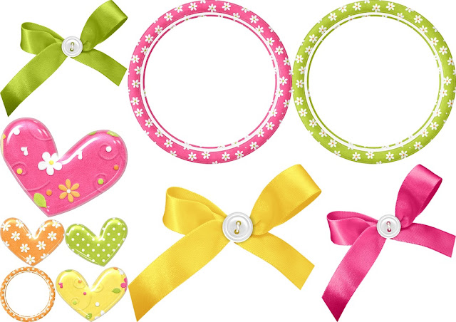 Frames, Hearts and Bows of the Spring Easter Clip Art.