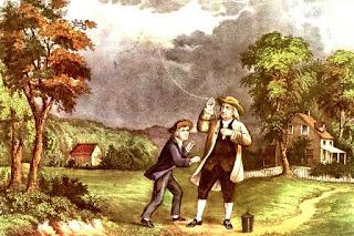 Benjamin Franklin junto a su hijo William, realizando el famoso experimento sobre la electricidad, haciendo volar una cometa en medio de una tormenta.