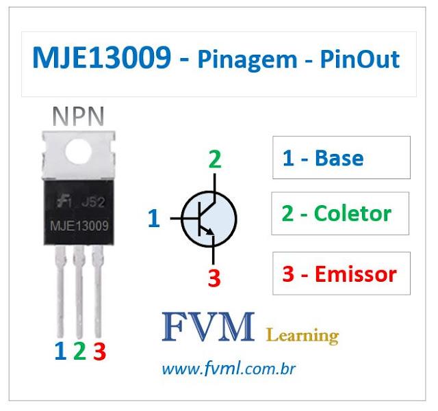 Pinagem - Pinout - Transistor - NPN - MJE13009 - Características