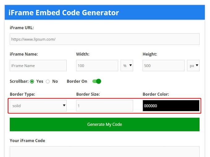 Free Advance iFrame Generator - Free Online iFrame Code Maker Tool-embed code generator
