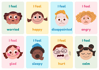Emotions Simple Illustration Flashcard Sheets