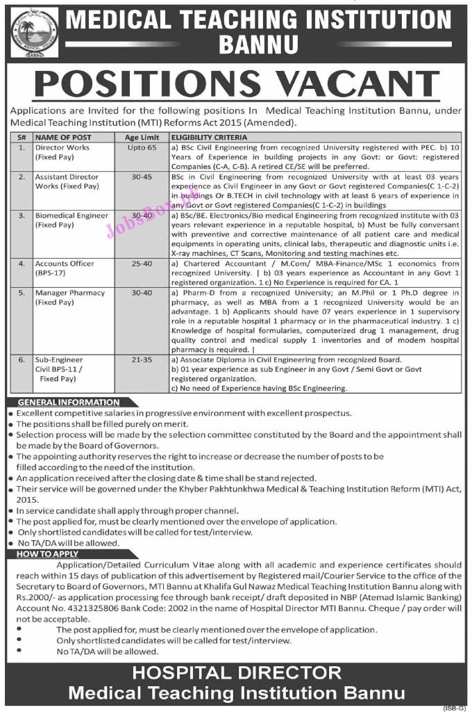 MTI Medical Teaching Institution Jobs 2021 in Pakistan