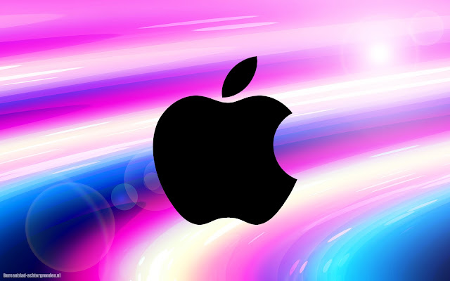 Abstracte wallpaper met zwarte Apple logo