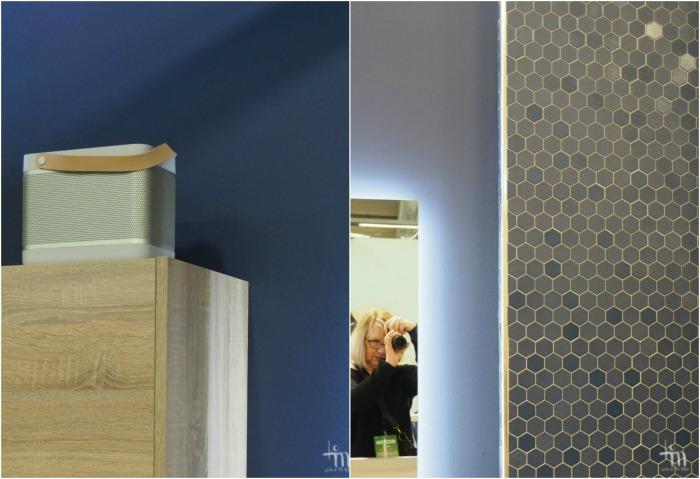 Åblogitalon kylpyhuoneen siniset seinät Rakenna ja Sisusta -messuilla