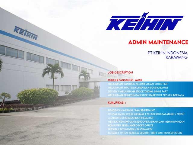Loker Karawang Admin Maintenance PT KEIHIN
