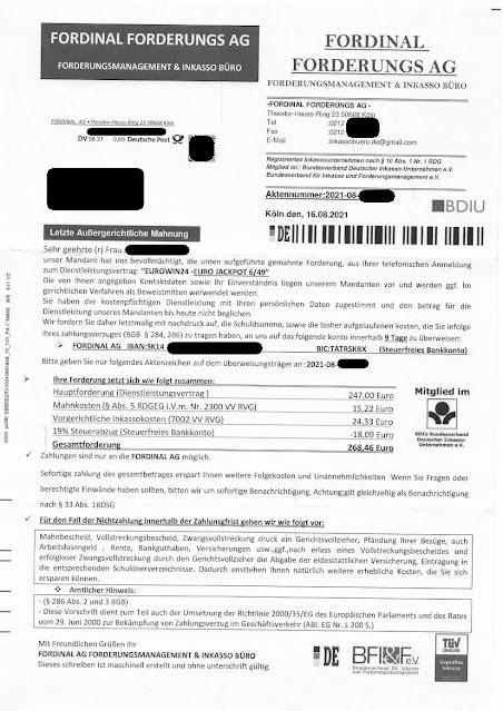 Scan: Zahlungsaufforderung / Fordinal Forderungs AG / Aug 2021