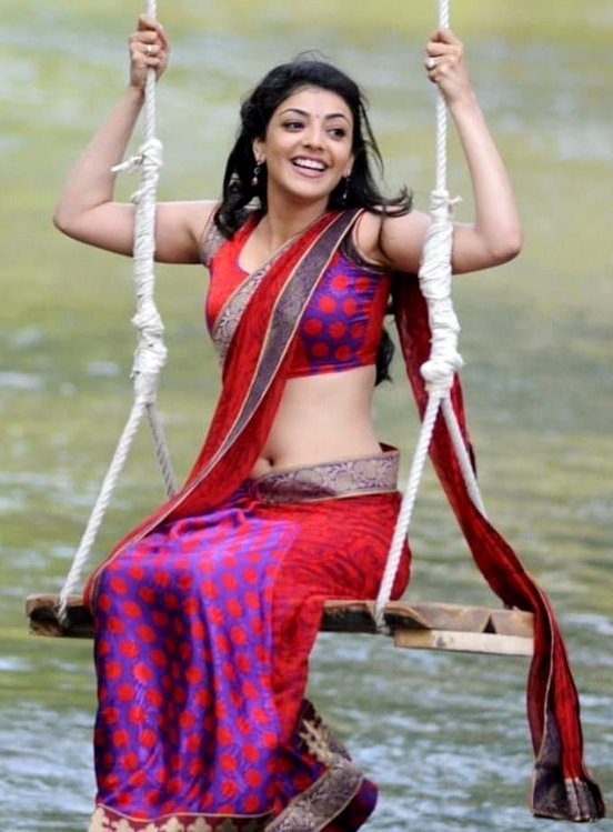Kajal in saree navel show