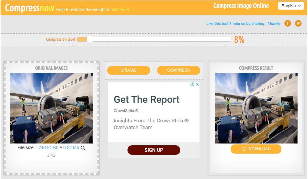 cara mengecilkan resolusi file foto online di Compress Now