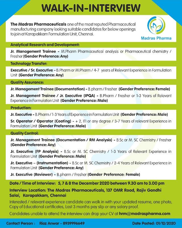 Madras Pharmaceuticals | Walk-in for Production/QC/QA/R&D/TT on 5, 7 & 8th Dec 2020