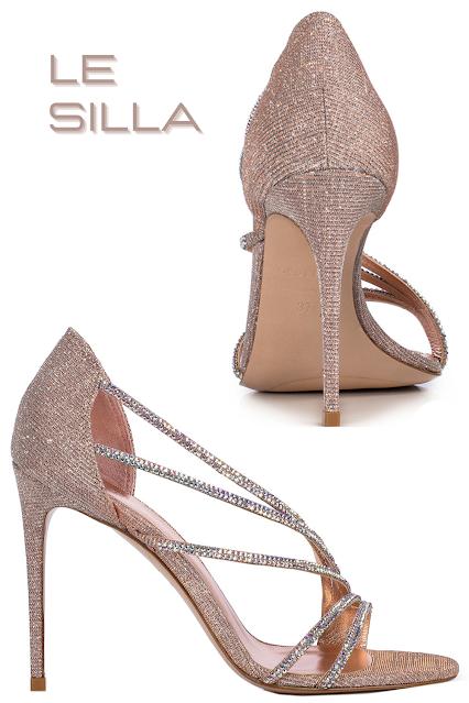 Le Silla Devina nude skin glitter fabric sandal #lesilla #shoes #brilliantluxury