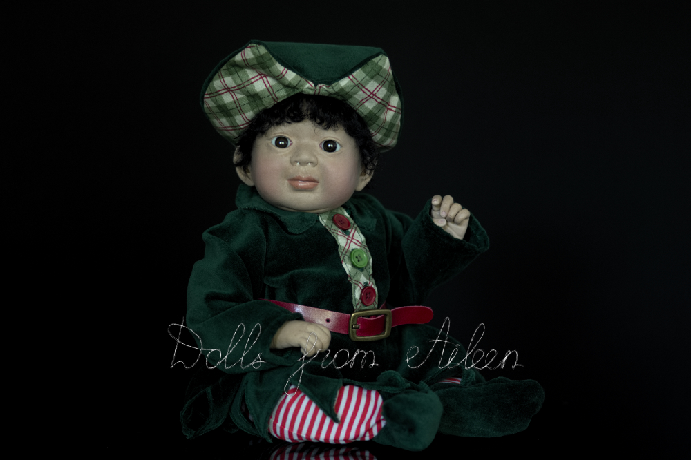ooak Christmas elf art doll posing for the camera