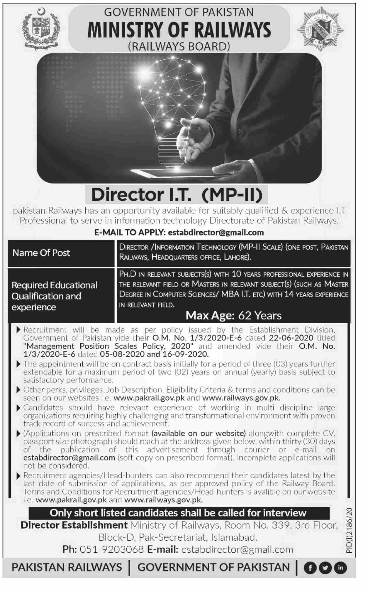 Ministry of Railway November Jobs in Pakistan - Apply Online - estabdirector@gmail.com - www.pakrail.gov.pk - www.railways.gov.pk