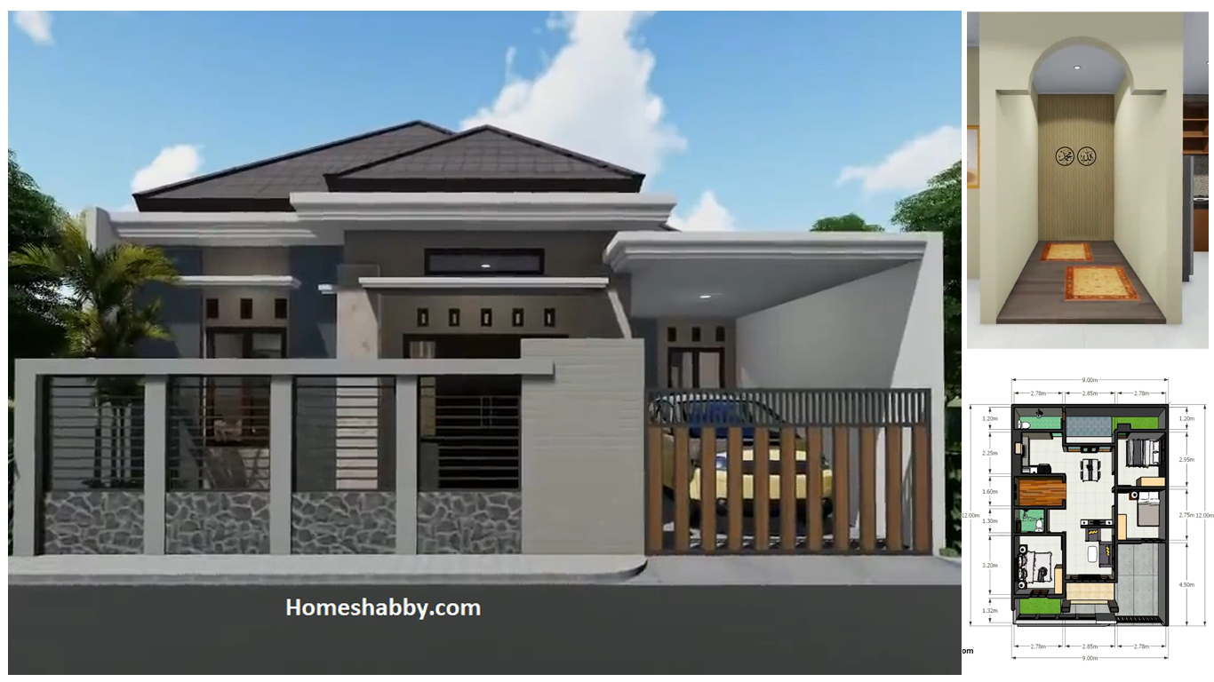 Desain Dan Denah Rumah Tropis Ukuran 9 X 12 M 3 Kamar Tidur Mushola Biaya 300 Jutaan Homeshabby Com Design Home Plans Home Decorating And Interior Design