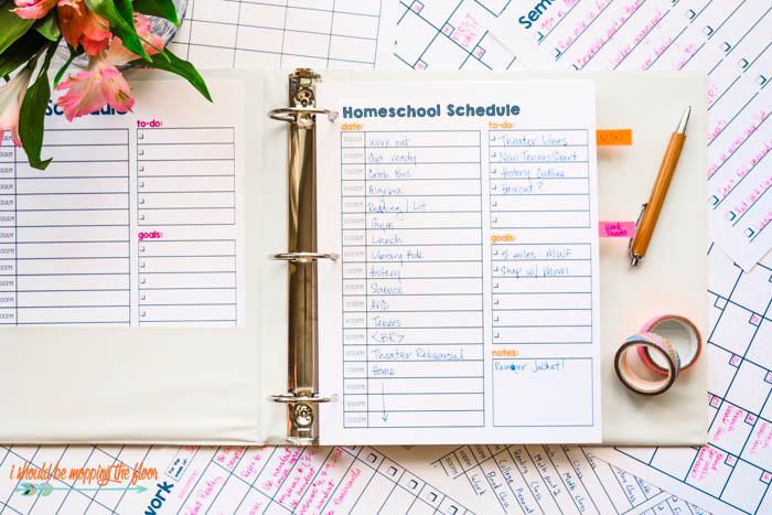 Printable Homeschool Schedule
