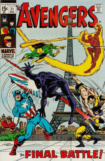 Avengers #71, the Invaders, Sub-Mariner, Human Torch, Captain America, World War Two, Eiffel Tower, Paris, Sal Buscema cover