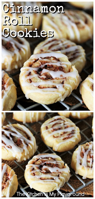 Cinnamon Roll Cookies ~ Tender cookie dough wrapped around cinnamon-sugar filling, drizzled with glaze, these tasty little cookies are packed with fabulous cinnamon flavor!  And not to mention, they're just plain fun to make & eat. Perfect to enjoy at Christmas or ANY time of the year. #cookies #cookierecipes #cinnamonrollcookies #cinnamon www.thekitchenismyplayground.com