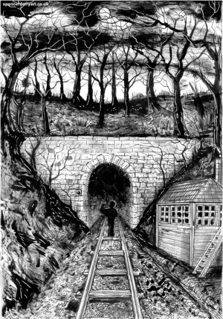 Original hand painted artwork inspired by Charles Dickens haunting ghostly story of 'The Signal-Man'.
