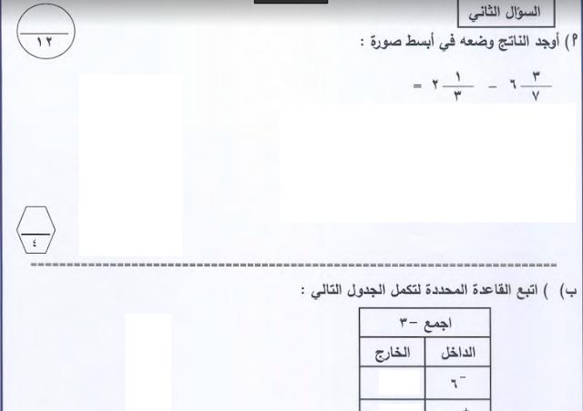 امتحان رياضيات للصف السادس الفصل الثاني منطقة مبارك التعليمية 2017-2018