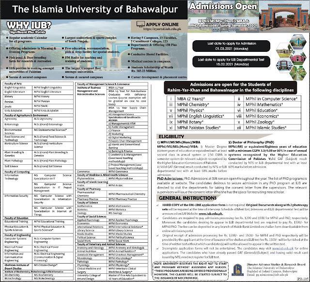 Online Apply IUB Postgraduate MPhil/MS/MSc(Hons)/MBA & PhD Admissions in Spring-2021