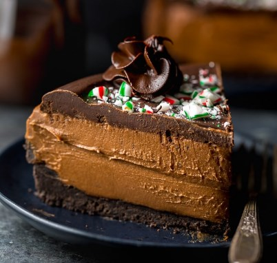NO-BAKE PEPPERMINT MOCHA CHEESECAKE