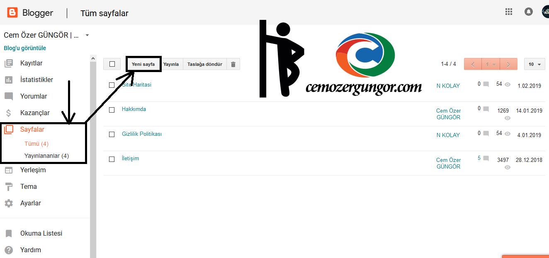 blogger sayfa ekleme