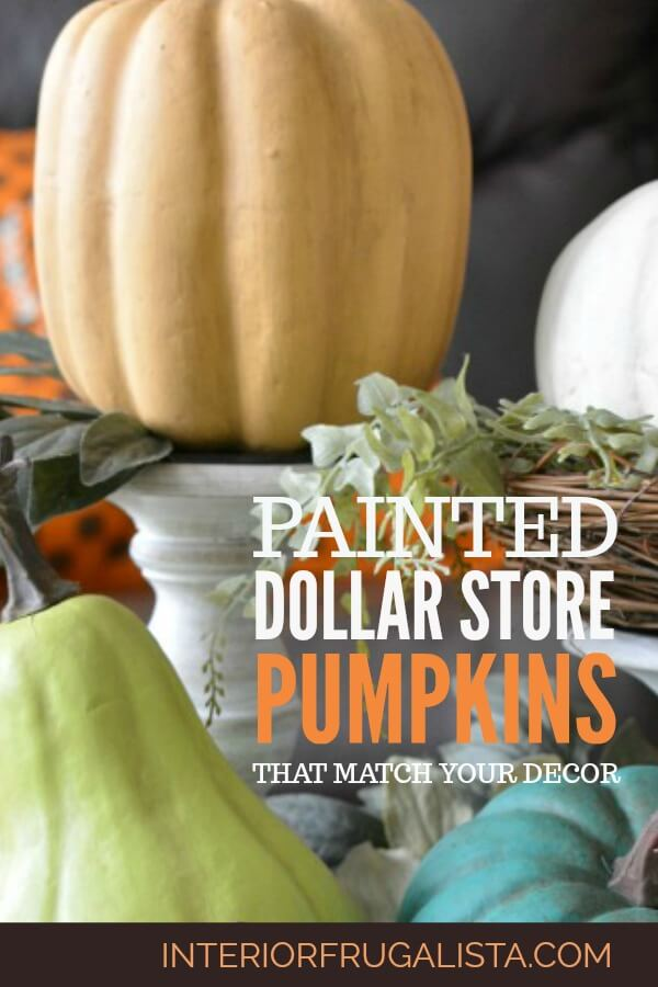 How to turn cheap dollar store plastic pumpkins into gorgeous farmhouse-style painted pumpkins customized to match your fall color palette and style. #farmhousefalldecor #paintedpumpkins #dollarstorepumpkins