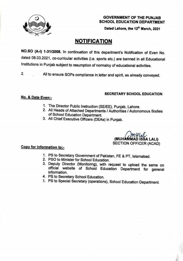 BAN ON CO-CURRICULAR ACTIVITIES IN ALL EDUCATIONAL INSTITUTIONS