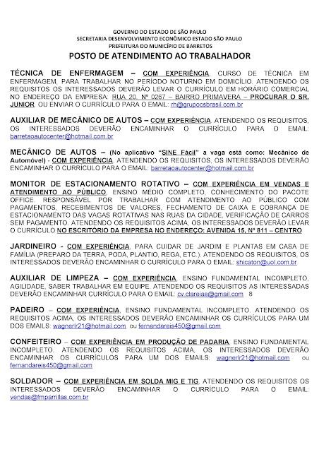 VAGAS DE EMPREGO DO PAT BARRETOS PARA 04-09-2020 PUBLICADAS NA TARDE DE 03-09-2020 - PAG. 9
