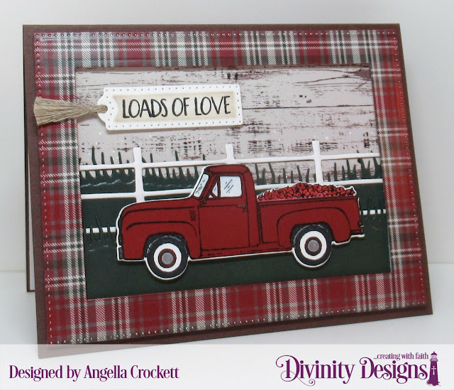 Divinity Designs LLC: Loads of Love Stamp/Die Duos, Rustic Christmas Paper Pad, Treat Tags Dies, Farm Fence Die, Grass Lawn Die, Grass Hill Die, Pierced Rectangles Dies; Card Designer Angie Crockett
