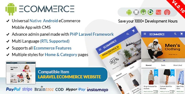 Download Android Ecommerce v4.0.10 - Universal Android Ecommerce / Store Full Mobile App with Laravel CMS