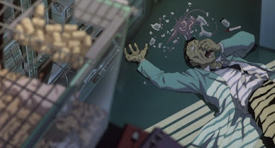 stink bomb bomba fétida lab laboratorio anime film película Tensai Okamura Nobuo Tanaka flu