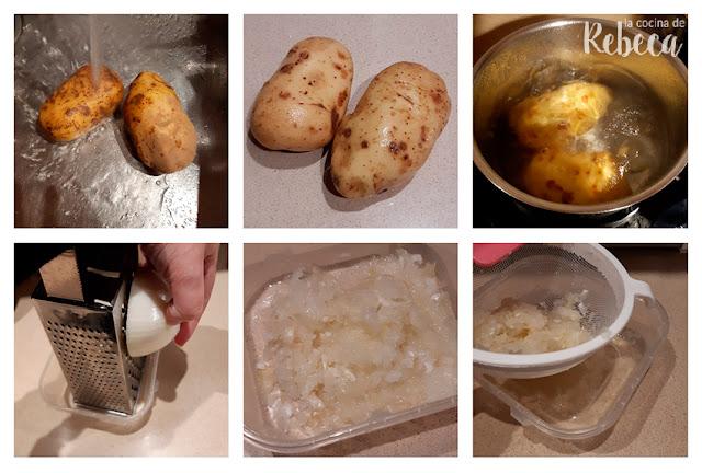 Receta de rösti: preparación de las patatas y la cebolla